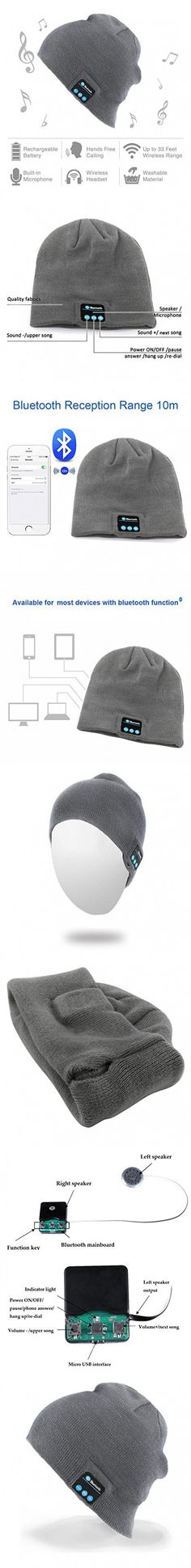Momoday® Bluetooth Music Soft Warm Beanie Hat Cap with Stereo Headphone Headset Speaker Wireless Mic Hands-free for Men Women Speaker Winter Outdoor Sport Best Gift (Light Grey)