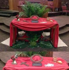 Road of burlap runs behind table with palms on it. Table depiction has rooster (for Peter's denial), cross, crown of thorns, 30 pieces of silver and a wooden cup with bread - all in the last week. Altar Design, Church Design, Church Altar Decorations, Table Decorations, Catholic Altar, Church Stage, Crown Of Thorns, Palm Sunday, Deco Floral