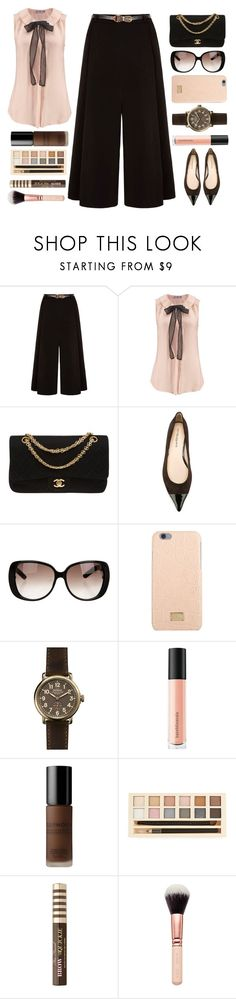 """""""Neck-tie Blouse"""" by juliehalloran ❤ liked on Polyvore featuring Yumi, Chanel, ANNA BAIGUERA, Gucci, Dolce&Gabbana, Shinola, Bare Escentuals, Sephora Collection, Forever 21 and Too Faced Cosmetics"""