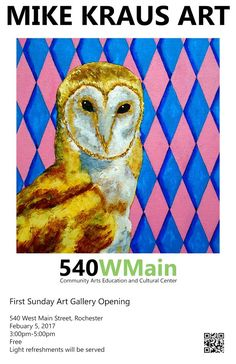 "Come ""tailgate"" with me at  540WMain​.  We'll look at my art and have some refreshments before the Super Bowl kickoff.  More info at: https://www.facebook.com/events/1704199876558147/  #MikeKrausArt #540WMain #rochester #ny #newyork #art #painting #food"
