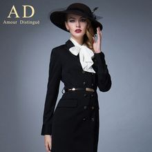 Aision - Long-Sleeve Double-Buttoned Dress