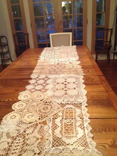 Our 16 foot long vintage doily runner