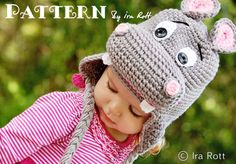 PATTERN  Happy Hippo the Hippopotamus Hat  por IRAROTTpatterns, $6.50