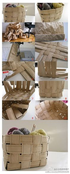 Kraft paper together without the use of knitting baskets on it ~ ~ pastoral style storage box appeared very easy oh you ~ ~