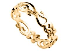 14K Genuine Solid Yellow GOLD VINE FILIGREE Band by AmazonJewelers