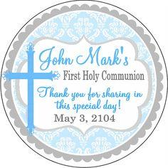 Light Blue Damask First Holy Communion Baptism by PaisleyChickInks, $5.75