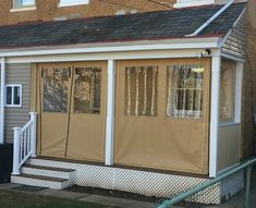 Get use out of your porch year round by installing roll down clear vinyl drop curtains. A zippered door provides access or roll up the whole curtain Sunroom Kits, Porch Kits, Sunroom Ideas, Patio Ideas, Porch Curtains, Porch Windows, Vinyl Windows, Porch Vinyl, Vinyl Deck