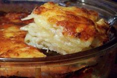 The best Scalloped Potatoes I have ever tasted.Probably not the best i've ever had, but sure is easy with a good food processor and quite delicious! I added ham, and am going to try this as a crock pot meal next time, it sure was yummy! Best Scalloped Potatoes, Scalloped Potato Recipes, Scallop Potatoes, Scalloped Potatoes Without Cheese, Think Food, I Love Food, Potato Dishes, Food Dishes, Side Dishes