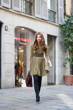 Larisa Costea in It's a Party dress from Shop Skylar Belle, fashion blogger, Milan fashion week, gold sequin dress