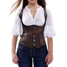 Grebrafan Underbust Waist Cincher Women Boned Corset Lace Up Bustier Shaper US(10-12) XL. Fully adjustable ribbon lacing in the back, adjust to fit your waist. Perfect outfit for hen nights or burlesque themed parties where you want to look fabulous Designed to lift and support the bust,draws in the waist and flattens the tummy. This Gothic Underbust Corset, with 12 Spiral Steel Boned, If you Worried About Spiral Steel Boned or not, you can tested it with a Magnet. Great for waist…