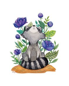 Roxie the raccoon print products in 2019 ilustraciones Raccoon Drawing, Raccoon Art, Raccoon Tattoo, Baby Raccoon, Raccoon Illustration, Cute Illustration, Watercolor Animals, Watercolor Art, Cute Drawings
