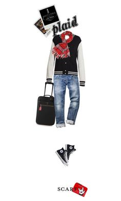 Plaid Scarf, Chuck's, & Vegas Baby! by idocoffee on Polyvore featuring polyvore fashion style Marc Jacobs Mark Cross Dsquared2 FOSSIL Jet Set Candy Achillea clothing scarf