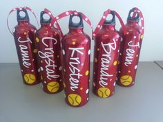 Personalized Softball Aluminum Water Bottles. $10.00, via Etsy.