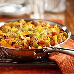 Beef Taco Skillet  Dinner for $10. That*s definitely true for this Beef Taco Skillet. Full of all the flavors of our favorite Mexican casserole dishes, this hearty skillet stocked with ground beef, tortillas, bean, tomatoes and corn can be on the table in just 20 minutes. Even better, the recipe yields 4 servings at just $1.86 per serving!  All the delicious flavors of a taco in a quick and easy skillet preparation.