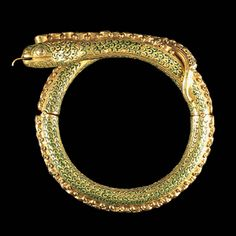 A Gold Diamond And Enamel Snake Bracelet, Thailand 19th Century