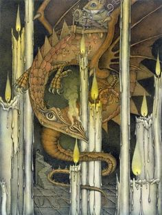 Candle Lighter, by Wayne Anderson Big Dragon, Dragon Art, Wayne Anderson, Types Of Dragons, Baumgarten, Dragon's Lair, Fantasy Castle, Guy Drawing, Magical Creatures