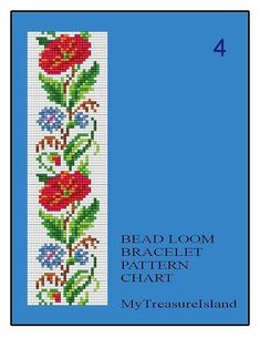 Zum Verkauf stehen Bead Loom Floral Border 3, Bead Loom Floral Border 4 und Bead Loom Vintage Grenze 5 Multicolor Armbänder Blumenmustern im