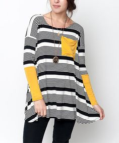 Look at this #zulilyfind! Black & Yellow Stripe Tunic by Caralase #zulilyfinds