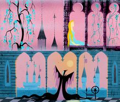 Concept art for Disney's Sleeping Beauty by Eyvind Earle Walt Disney, Disney Love, Disney Magic, Disney Pixar, Disney Stuff, Sleeping Beauty 1959, Sleeping Beauty Maleficent, Disney Sleeping Beauty, Disney Concept Art