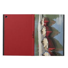 iPad Air Case, Red Canoes - This iPad Air case is wonderful for someone who love canoes or canoeing. Wallet is decorated with my original photograph of red canoes. Example text for name can be deleted, if desired. All Rights Reserved © 2013 Alan & Marcia Socolik.  #iPadAir #iPadAirCases #CasesForIPadAir #Canoes #RedCanoes #MountainCanoes