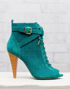 Peep toe die cut ankle boots - OMG! She's gorgeous!!!