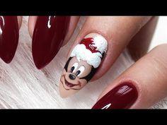 Minnie Mouse Nail Art, Mickey Mouse Nails, Disney Christmas Nails, Christmas Nail Designs, Disney Inspired Nails, Jasmine Nails, Disney Princess Nails, Red Nail Art, Malu