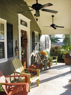 Lively Porch Accessories  Woven baskets, terra-cotta pots with fresh flowers and topiary planters can add lots of nice texture to a porch. Don't be afraid to be bold with vibrant colors on your porch