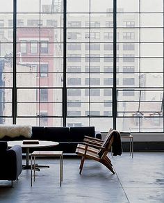 Midcentury modern loft interior with panoramic windows