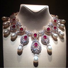 "Pearl , Rubies , and Diamond Van Cleef & Arpels high jewellery Necklace from the ""Peau d'Âne"" collection via @watch _jewel"