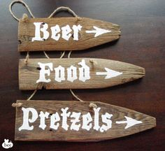 Set of 3 Beer Garden Party Pack: Hand-Painted Rustic Stained Wood Sign_Oktoberfest signs- beer, food, pretzels