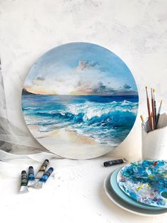 Excited to share this item from my shop: Seascape round canvas art, Original acrylic painting, One of a kind painting Circle Canvas, Round Canvas, Large Canvas Art, Lion Painting, Oil Painting Abstract, Acrylic Painting Canvas, Gold Acrylic Paint, Watercolor Painting, Unique Paintings