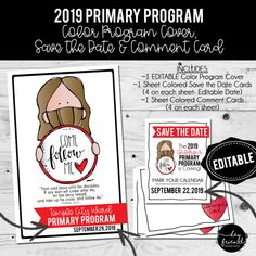 """Primary Program- """"Save the Date Cards"""" – Hey Friend! Primary Program, Lds Primary, Jesus Sketch, Printable Invitations, Printables, Children Sketch, Print Place, Text Types, Black And White Design"""