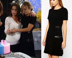 Maxie Jones's Black Kilted Dress with Side Buckles - General Hospital, Kirsten Storms, #GH #GeneralHospital