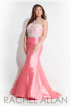 Fitted mermaid gown with lace top and racer back. Order today by calling Everything for Pageants at 1-815-782-8877 and ask for our current promotions.