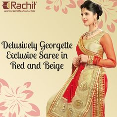 Shop Delusively ‪#‎Georgette‬ Exclusive ‪#‎Saree‬ in Red and Beige   #outfit #style #red #shopping