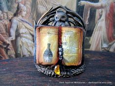 Witch's Potion Book dollhouse miniature ooak in by DarkSquirrel