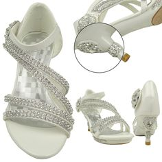 Kids Dress Sandals Assymetrical Rhinestones Heart High Heel Flower White Youth Size cute and adorable for special occasion wedding party pageant Girls Dress Sandals, Girls Heels, Kids Sandals, High Heels For Kids, Cute High Heels, Open Toe High Heels, Kid Shoes, Me Too Shoes, Flower Girl Shoes