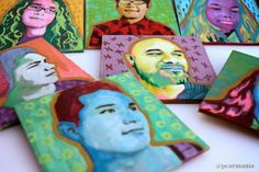 Want to make your own miniature works of art? These creative Pop Art portraitsà laAndy Warhol use simple wooden craft squares, craft paint + Mod Podge.