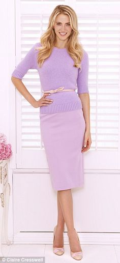 Angora sweater, £49, cosstores.com. Pencil skirt, £14, asos.com. Bow belt, £39, Fenwick, 0207 629 9161. Court shoes, £105, kurtgeiger.com