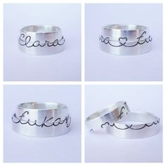 alianzas personalizadas con tu caligrafía personal - alianzas de plata - 1 mm de grosor
