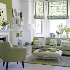 living room with green and white theme
