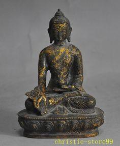 Old Tibet buddhism bronze gilt Herbs Buddha Medicine sakyamuni Shakyamuni statue