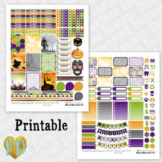 Halloween printable planner stickers, monthly sticker kit, Printable PDF for Erin Condren Lifeplanner, Filofax, MAMBI etc / INSTaNT DOWNLOAD by PlannerDecorator on Etsy