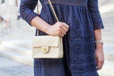 Navy Sea Lace Dress, Chanel Purse // The Stripe