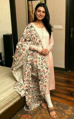 Pakistani dresses - sajanre new designer wear reyon cotton with heavy chain work salwar suit Churidar Designs, Kurta Designs Women, Blouse Designs, Pakistani Dress Design, Pakistani Outfits, Dress Indian Style, Indian Dresses, Dresses Dresses, Stylish Dresses