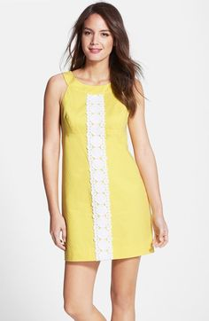 Lilly Pulitzer® 'Jacqueline' Lace Trim Textured Cotton Shift Dress available at #Nordstrom