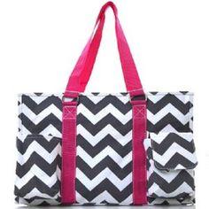 Chevron Stripe Canvas Multipurpose Utility Tote Bag Shopping Travel-Pink