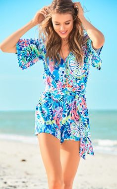 The Madilyn Romper is a sleeved knit faux wrap romper. You'll love this daytime look for the summer.