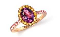 Montana Tropicana - red gold ring with an oval cut morganite, pink and yellow sapphires. Bling Jewelry, Unique Jewelry, Bespoke Jewellery, Pink Sapphire, Red Gold, Montana, Sweden, Heart Ring, Gold Rings