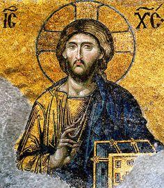 Ora sin parar con la oración de Jesús: Mosaico de Jesús en la iglesia de Hagia Sophia, Estambul, Turquía (Siglo 6)